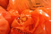 Orange bags of healthcare waste