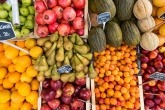 Fruit and vegetables on a market stall