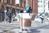 Giant coffee-cup bin offers innovative recycling experiment in Manchester