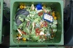 food waste in recycling bin