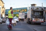 Recycling collector and lorry in Camden