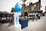 The drinking water fountains feature Thames Water's droplet logo