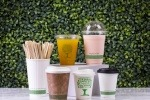 Selection of compostable Vegware coffee cups
