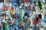 Baled plastic bottle waste
