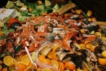 A mound of food waste