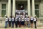 Italian Embassy employees celebrate new waste reduction initiative.