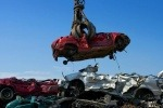A car being scrapped for recycling