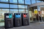 Three Leafield Environmental bins in front of a Cardiff University building