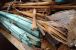 A pile of waste wood for reuse or recycling