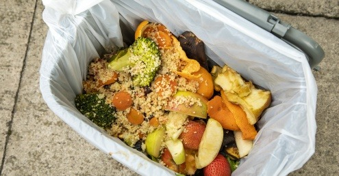 An image of food waste in a caddy