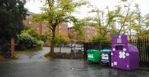 Recycling bins in Kelvinside, north Glasgow