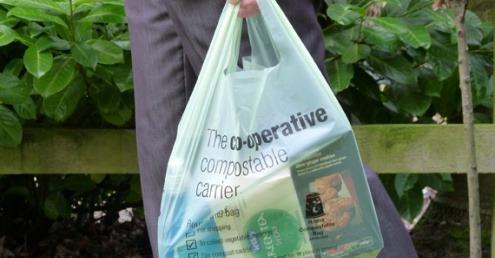 A compostable plastic bag