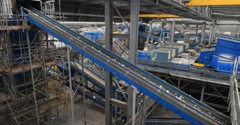 Conveyor belts in GRREC recycling facility
