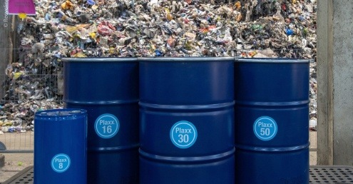 Barrels of Plaxx, the product created by Recycling Technologies from waste plastics