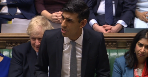 Chancellor Rishi Sunak announcing the Budget in the House of Commons