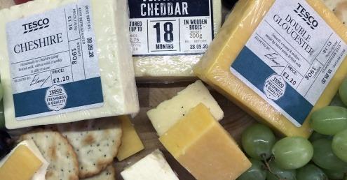 Selection of Tesco cheese