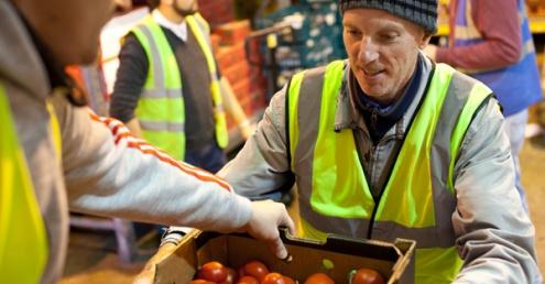 Volunteers with food redistribution charity Fareshare