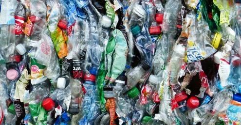 Baled plastic bottle waste