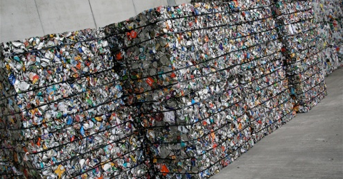 Bales of recyclable material.