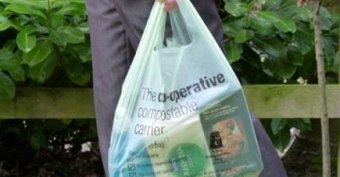 A Mater-Bi compostable carrier bag.