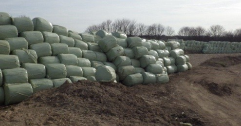 Some of the baled RDF stored at the site near Royston Sewage Treatment Works