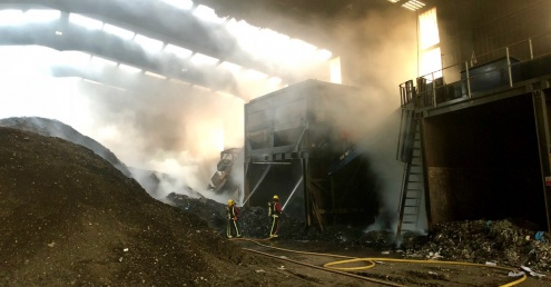 Fire at waste plant