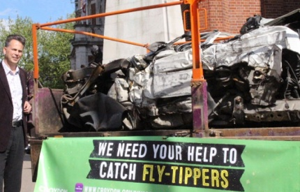 Croydon Council crushes van in fly-tipping warning