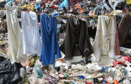 Image of clothing in a landfill