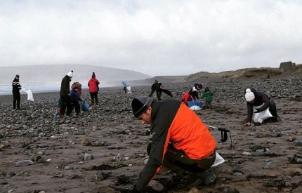 Local residents get involved in a beach clean in Snowdonia