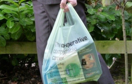 Compostable plastic carrier bag.