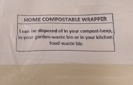 Instructions for disposal on a compostable wrapper