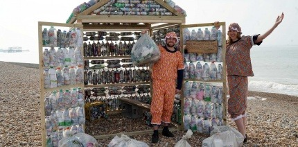 The beach hut in Brighton at the launch of the WasteAid appeal