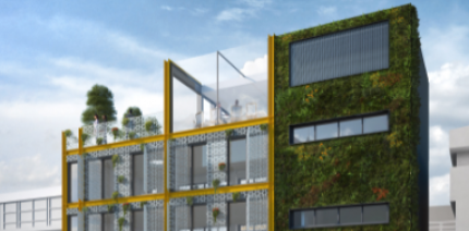 The planned refurbishment for the 'living wall' in the City of London.