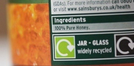 An OPRL label on a jar of honey