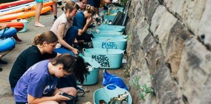 Volunteers recording litter on the Plastic Patrol app