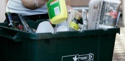 A kerbside recycling box.