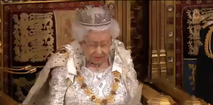The Queen addressing Parliament at the state opening of Parliament.