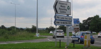 Household Waste Recycling Centre sign in Ellesmere Port