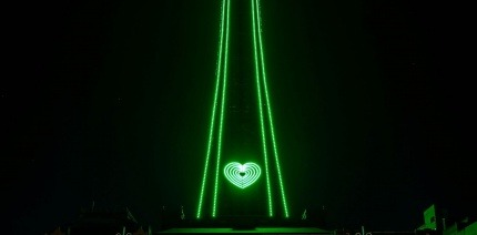 Blackpool Tower was lit up green for Recycle Week