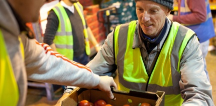 Volunteers with food redistribution charity Fareshare