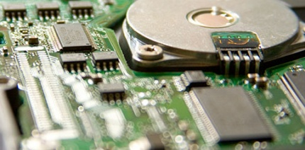 Close-up of the metal on a circuit board