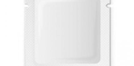 White plastic sachet