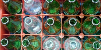 Mixed bottles in a crate