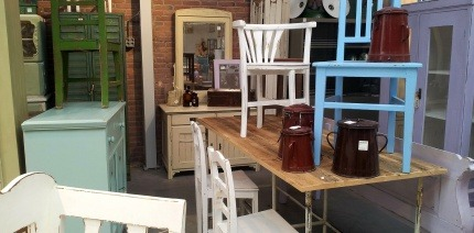 Second hand furniture in a reuse shop