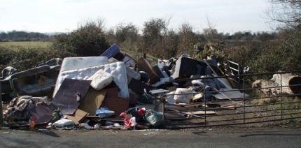 An illegal waste dump